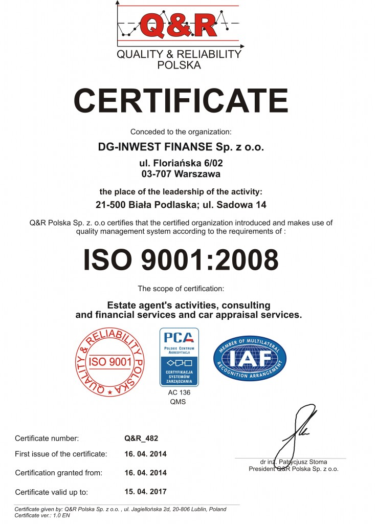 Certyfikat Q&R_482 DG Inwest ver 1 ang