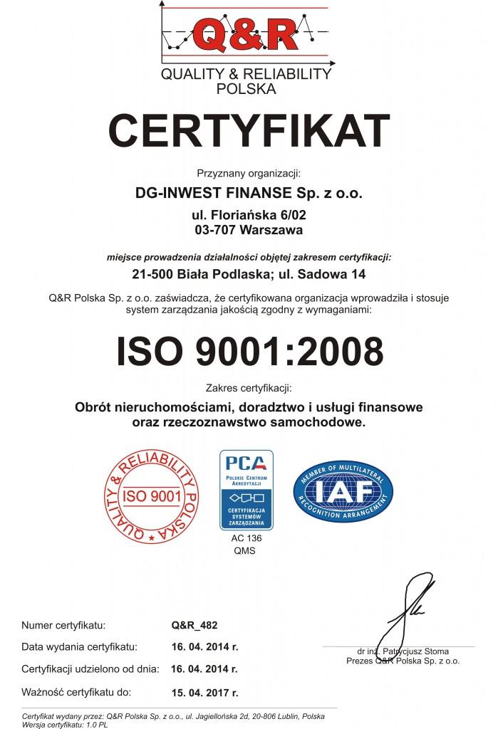 Certyfikat Q&R_482 DG Inwest ver 1 pl